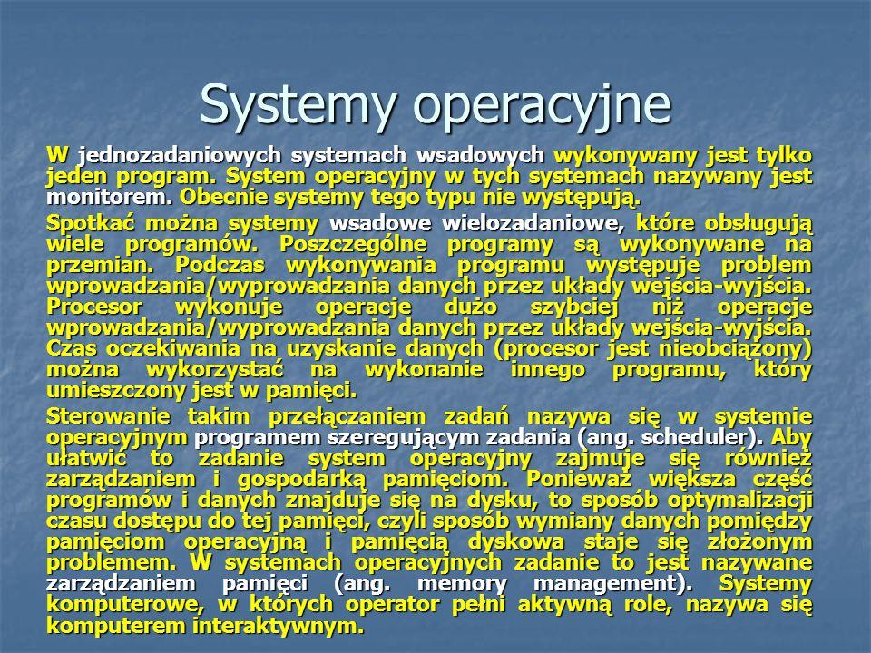 Systemy operacyjne W jednozadaniowych systemach wsadowych wykonywany jest tylko jeden program. System operacyjny w tych systemach nazywany jest monito