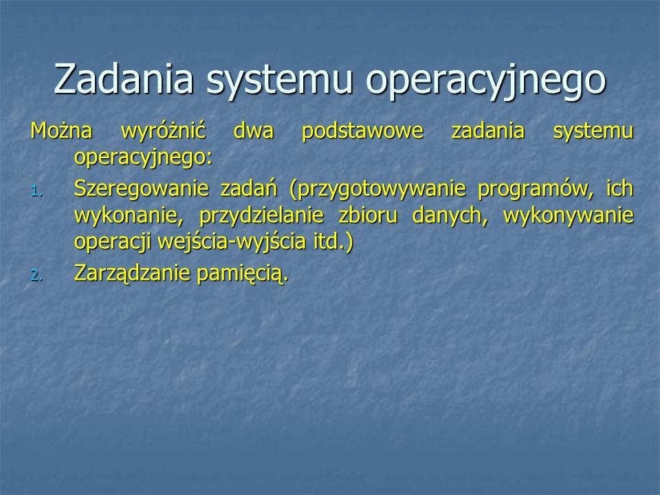 Zadania systemu operacyjnego Można wyróżnić dwa podstawowe zadania systemu operacyjnego: 1. Szeregowanie zadań (przygotowywanie programów, ich wykonan