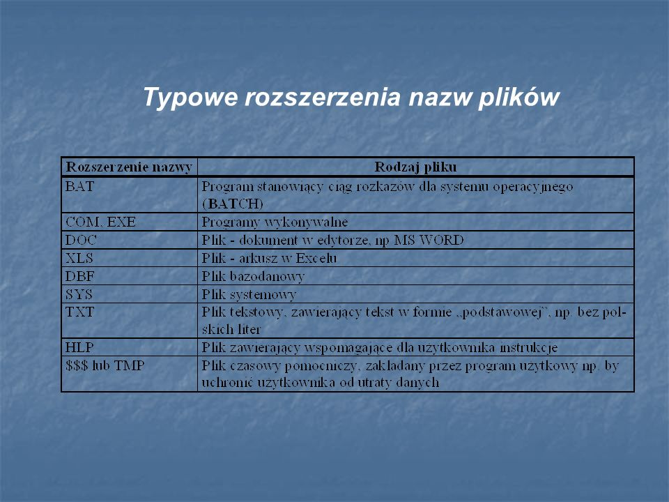 Typowe rozszerzenia nazw plików