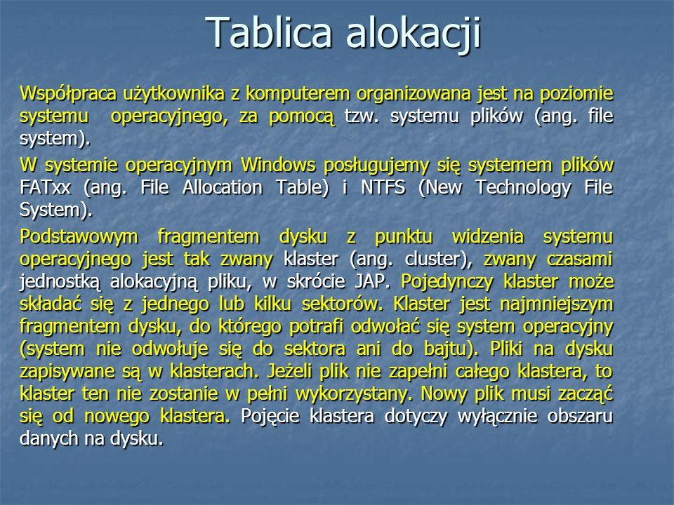 Tablica alokacji Współpraca użytkownika z komputerem organizowana jest na poziomie systemu operacyjnego, za pomocą tzw. systemu plików (ang. file syst
