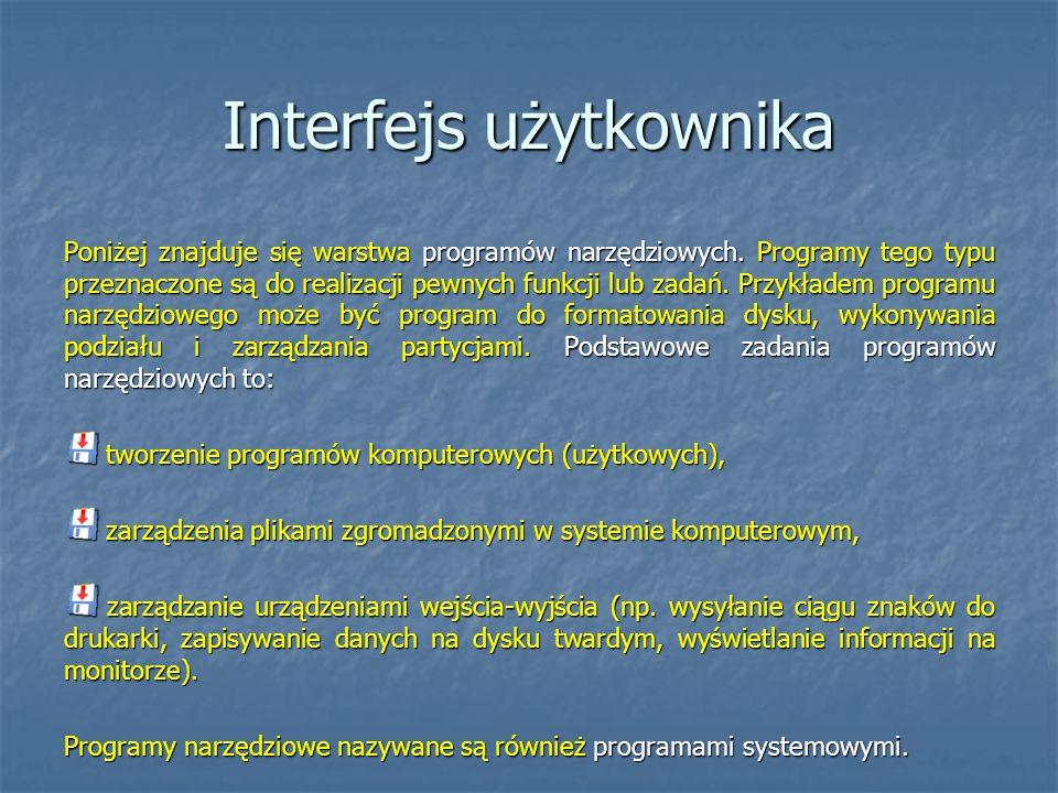 Interfejs użytkownika Poniżej znajduje się warstwa programów narzędziowych. Programy tego typu przeznaczone są do realizacji pewnych funkcji lub zadań