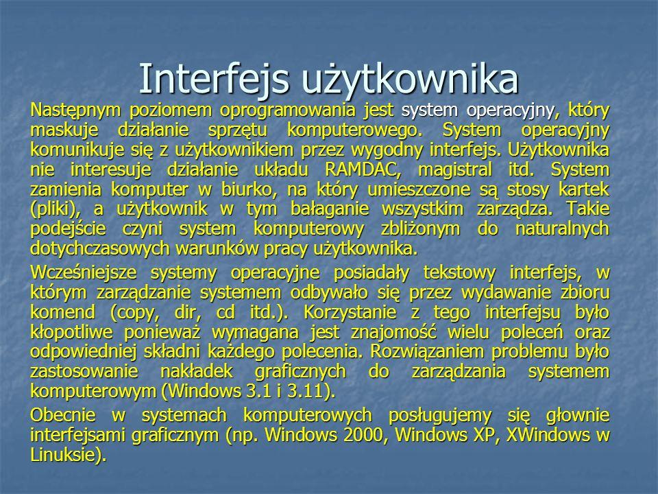 Interfejs użytkownika Następnym poziomem oprogramowania jest system operacyjny, który maskuje działanie sprzętu komputerowego. System operacyjny komun
