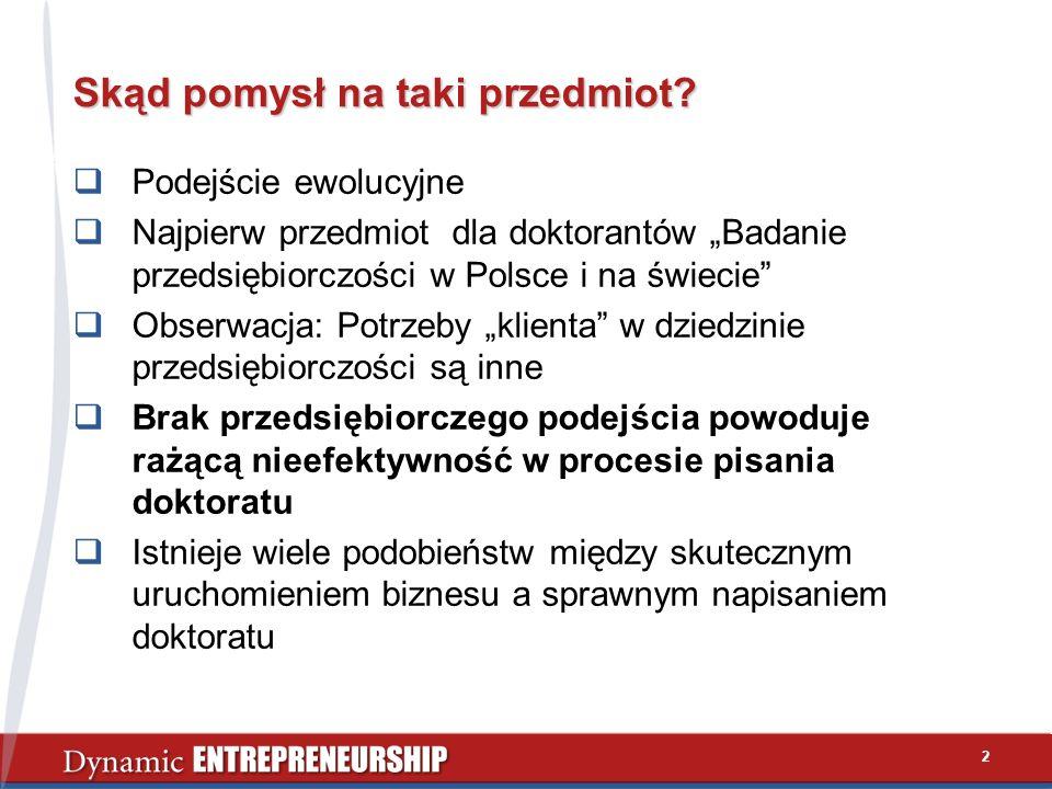 2 Skąd pomysł na taki przedmiot? Podejście ewolucyjne Najpierw przedmiot dla doktorantów Badanie przedsiębiorczości w Polsce i na świecie Obserwacja: