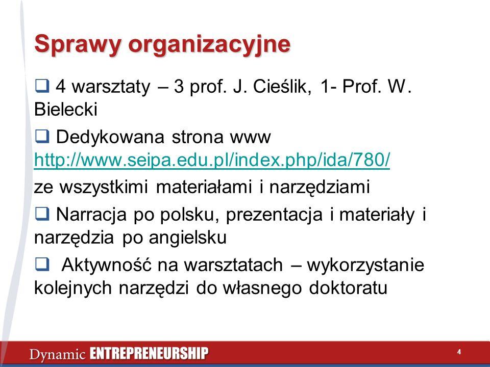 4 Sprawy organizacyjne 4 warsztaty – 3 prof. J. Cieślik, 1- Prof. W. Bielecki Dedykowana strona www http://www.seipa.edu.pl/index.php/ida/780/ http://