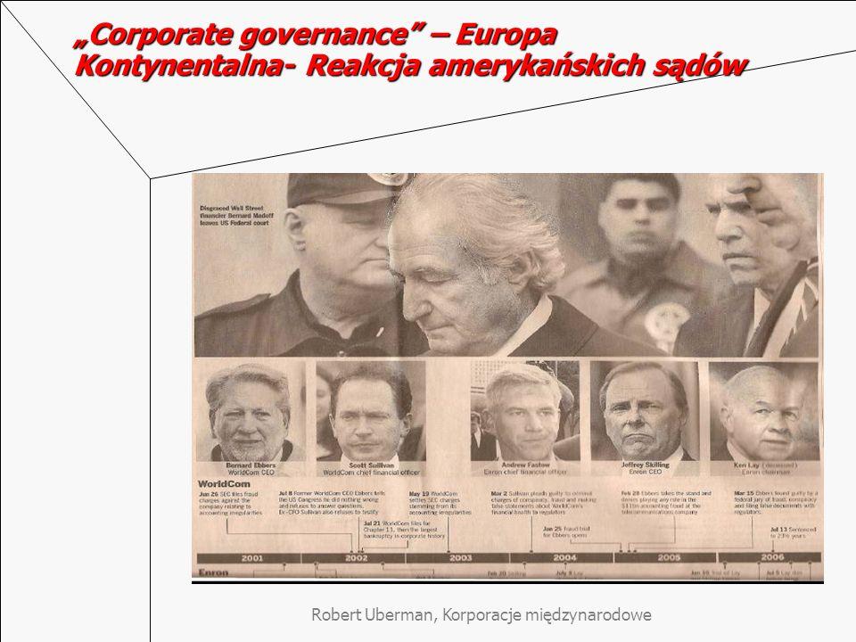 Robert Uberman, Korporacje międzynarodowe Corporate governance – Europa Kontynentalna- Reakcja amerykańskich sądów