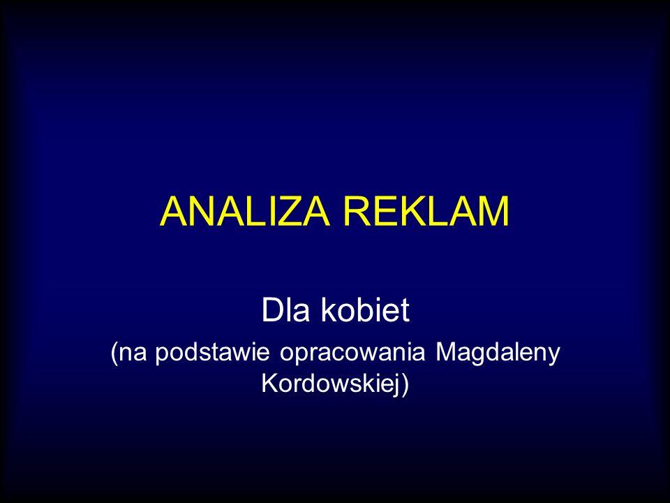 ANALIZA REKLAM Dla kobiet (na podstawie opracowania Magdaleny Kordowskiej)