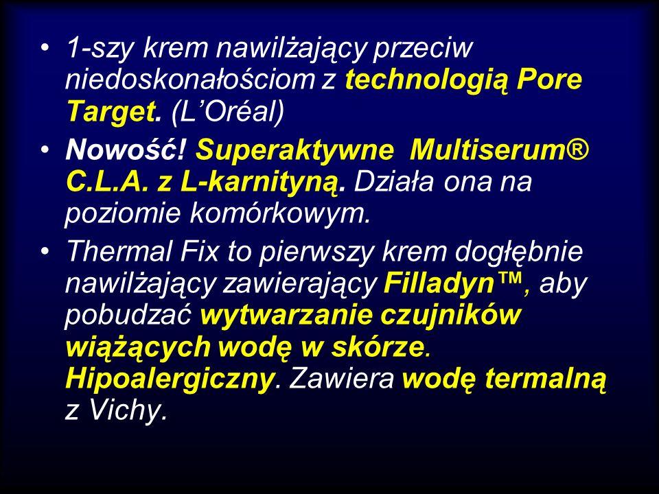 1-szy krem nawilżający przeciw niedoskonałościom z technologią Pore Target. (LOréal) Nowość! Superaktywne Multiserum® C.L.A. z L-karnityną. Działa ona