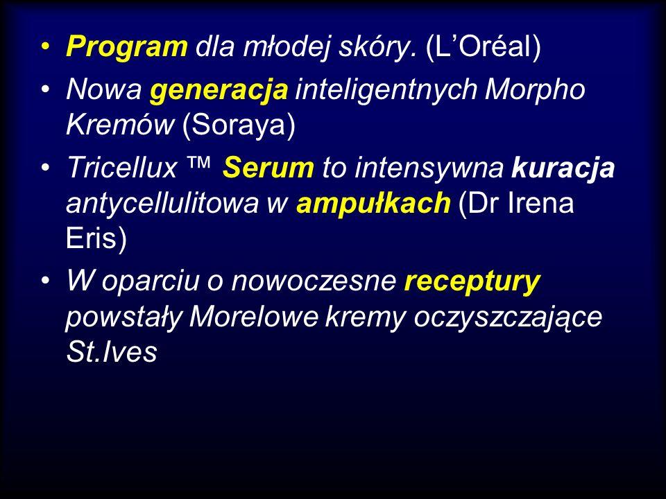 Program dla młodej skóry. (LOréal) Nowa generacja inteligentnych Morpho Kremów (Soraya) Tricellux Serum to intensywna kuracja antycellulitowa w ampułk