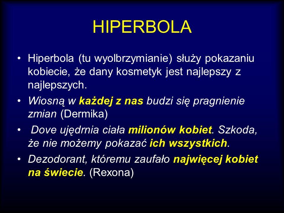 HIPERBOLA Hiperbola (tu wyolbrzymianie) służy pokazaniu kobiecie, że dany kosmetyk jest najlepszy z najlepszych. Wiosną w każdej z nas budzi się pragn