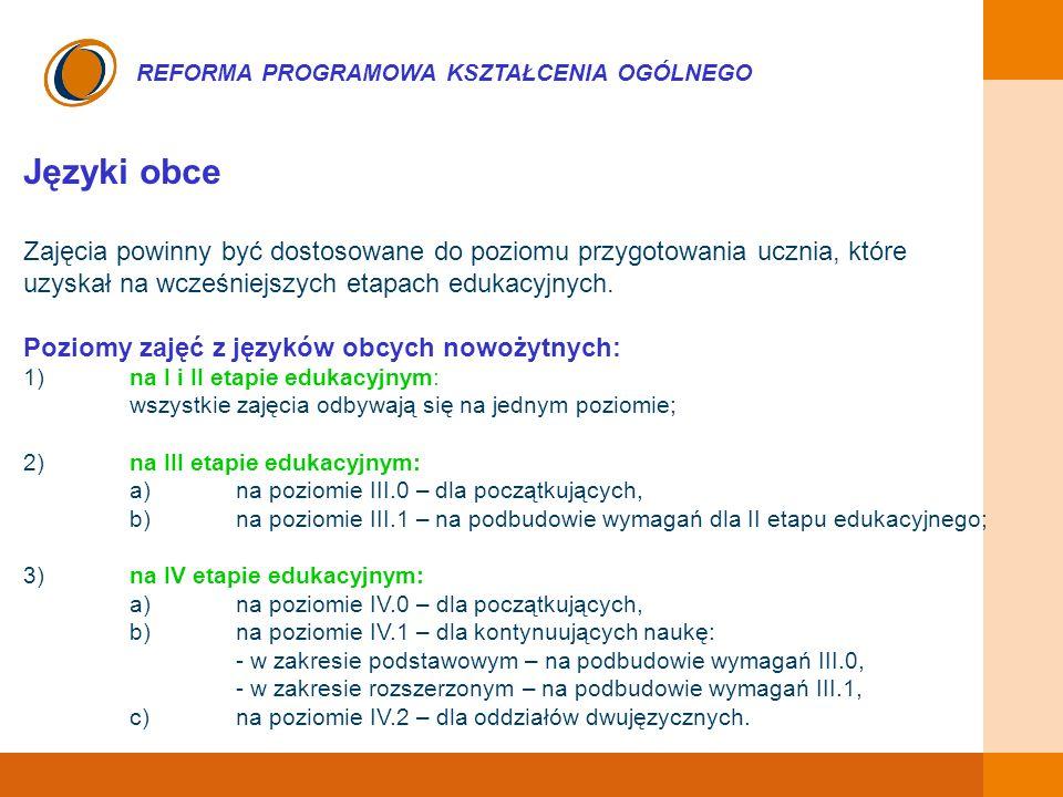 EDUKACJA SKUTECZNA, PRZYJAZNA I NOWOCZESNA REFORMA PROGRAMOWA KSZTAŁCENIA OGÓLNEGO Języki obce Zajęcia powinny być dostosowane do poziomu przygotowani