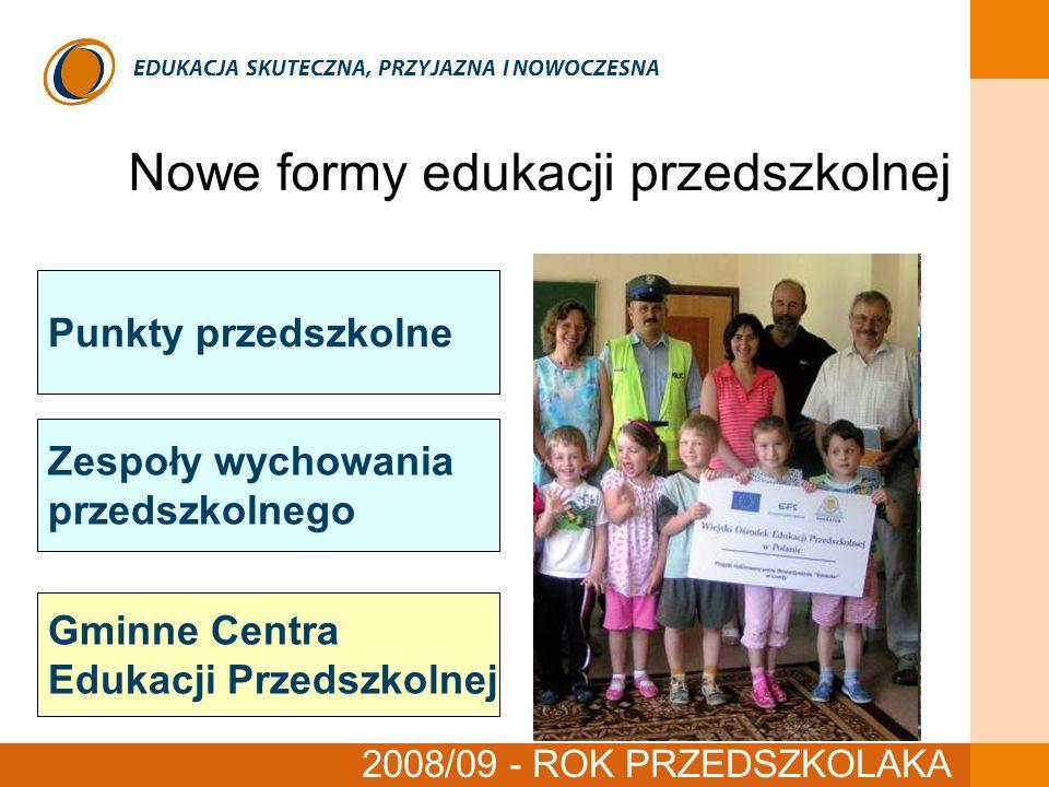 EDUKACJA SKUTECZNA, PRZYJAZNA I NOWOCZESNA Nowe formy edukacji przedszkolnej czerwiec 2008 Punkty przedszkolne Zespoły wychowania przedszkolnego Gminn