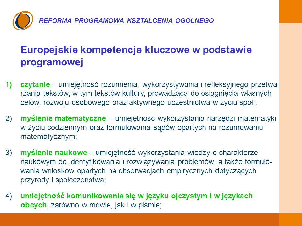 EDUKACJA SKUTECZNA, PRZYJAZNA I NOWOCZESNA REFORMA PROGRAMOWA KSZTAŁCENIA OGÓLNEGO Europejskie kompetencje kluczowe w podstawie Programowej – cd.