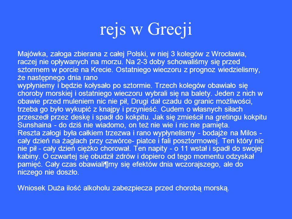 rejs w Grecji Majówka, załoga zbierana z całej Polski, w niej 3 kolegów z Wrocławia, raczej nie opływanych na morzu.