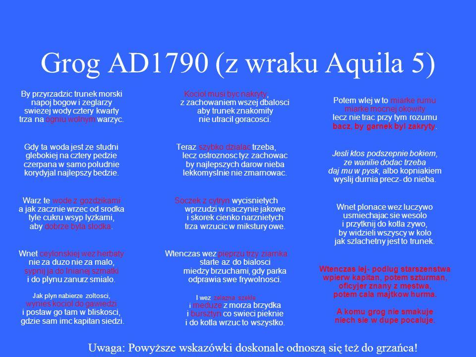 Grog AD1790 (z wraku Aquila 5) By przyrzadzic trunek morski napoj bogow i zeglarzy swiezej wody cztery kwarty trza na ogniu wolnym warzyc.