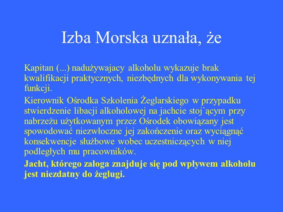 Izba Morska uznała, że Kapitan (...) nadużywajacy alkoholu wykazuje brak kwalifikacji praktycznych, niezbędnych dla wykonywania tej funkcji.