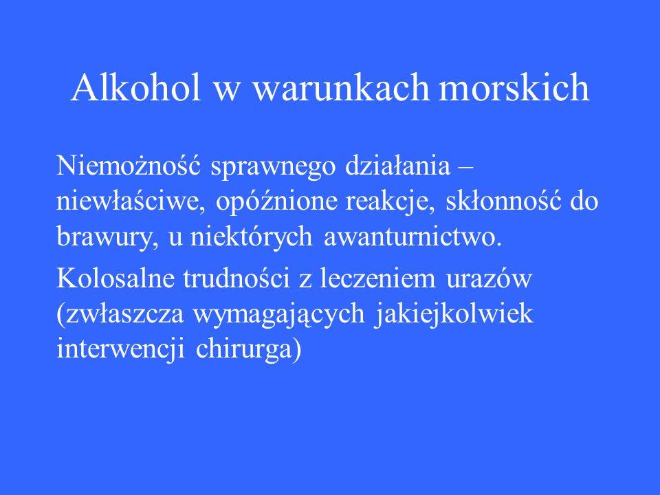 Alkohol w warunkach morskich Niemożność sprawnego działania – niewłaściwe, opóźnione reakcje, skłonność do brawury, u niektórych awanturnictwo.