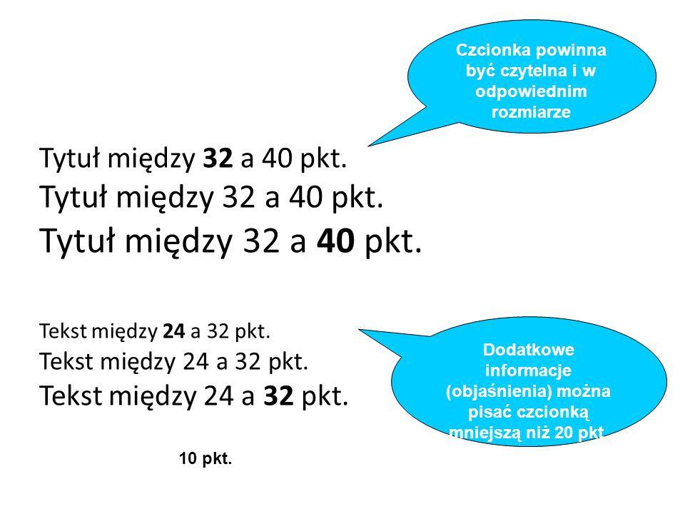 Tytuł między 32 a 40 pkt.Tekst między 24 a 32 pkt.