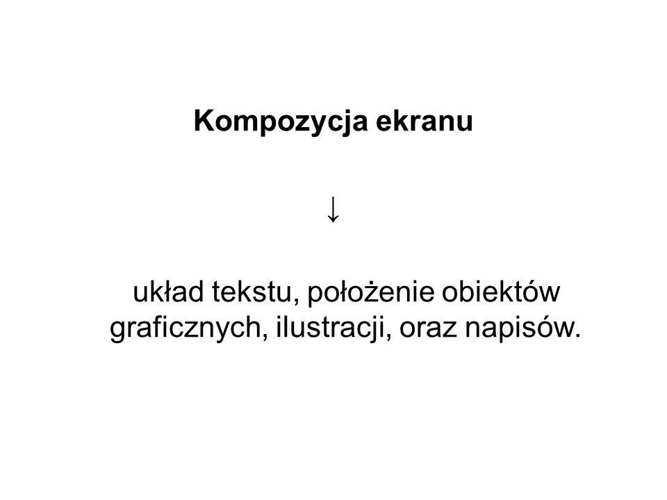 Kompozycja ekranu układ tekstu, położenie obiektów graficznych, ilustracji, oraz napisów.