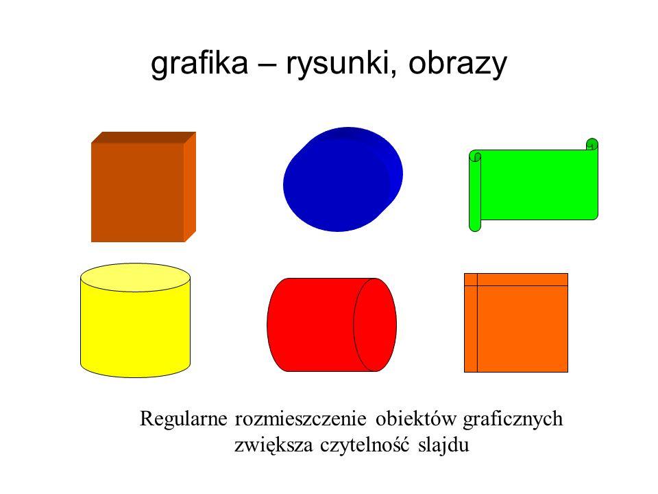 grafika – rysunki, obrazy Regularne rozmieszczenie obiektów graficznych zwiększa czytelność slajdu