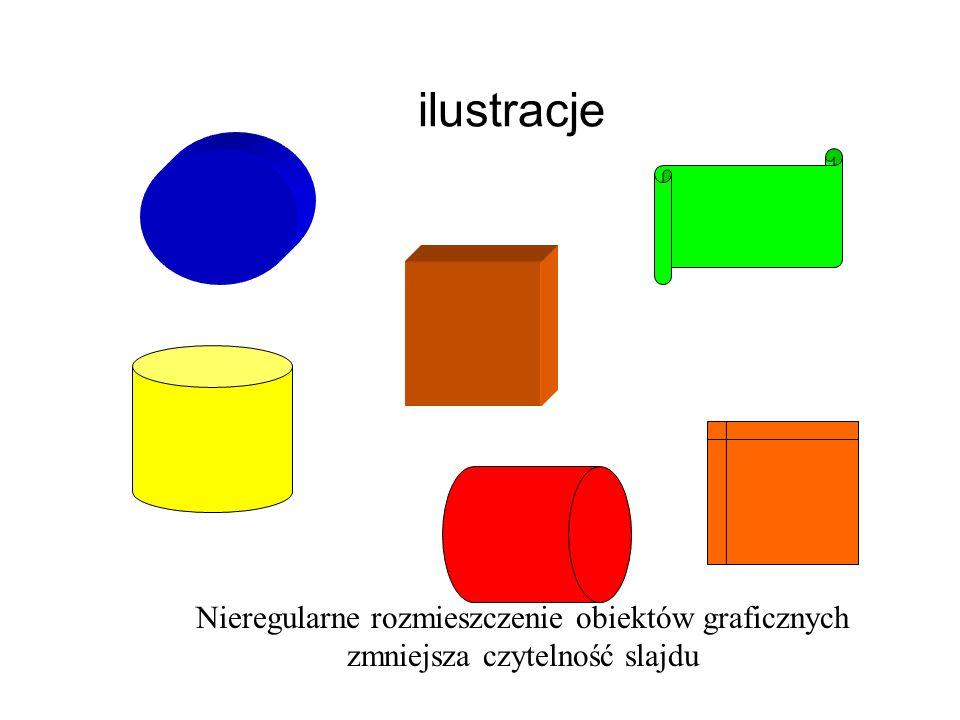ilustracje Nieregularne rozmieszczenie obiektów graficznych zmniejsza czytelność slajdu
