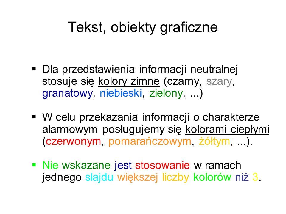 Tekst, obiekty graficzne Dla przedstawienia informacji neutralnej stosuje się kolory zimne (czarny, szary, granatowy, niebieski, zielony,...) W celu przekazania informacji o charakterze alarmowym posługujemy się kolorami ciepłymi (czerwonym, pomarańczowym, żółtym,...).