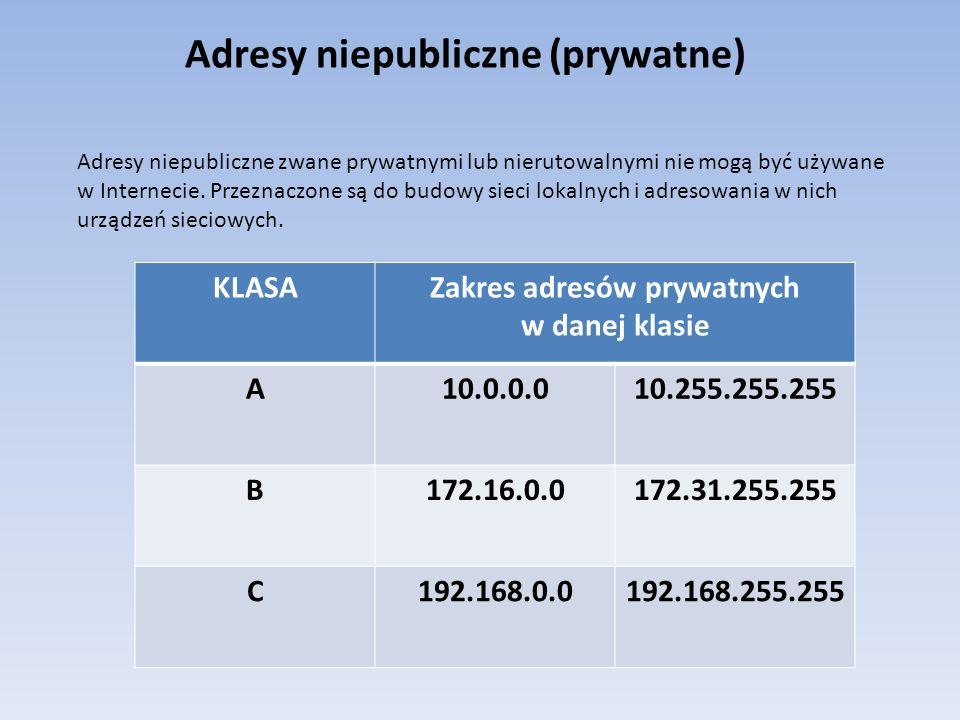 Adresy niepubliczne (prywatne) Adresy niepubliczne zwane prywatnymi lub nierutowalnymi nie mogą być używane w Internecie. Przeznaczone są do budowy si