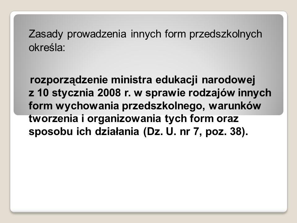 Zasady prowadzenia innych form przedszkolnych określa: rozporządzenie ministra edukacji narodowej z 10 stycznia 2008 r. w sprawie rodzajów innych form