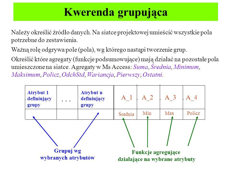 Kwerenda grupująca Średnia MinMaxPolicz Należy określić źródło danych. Na siatce projektowej umieścić wszystkie pola potrzebne do zestawienia. Ważną r