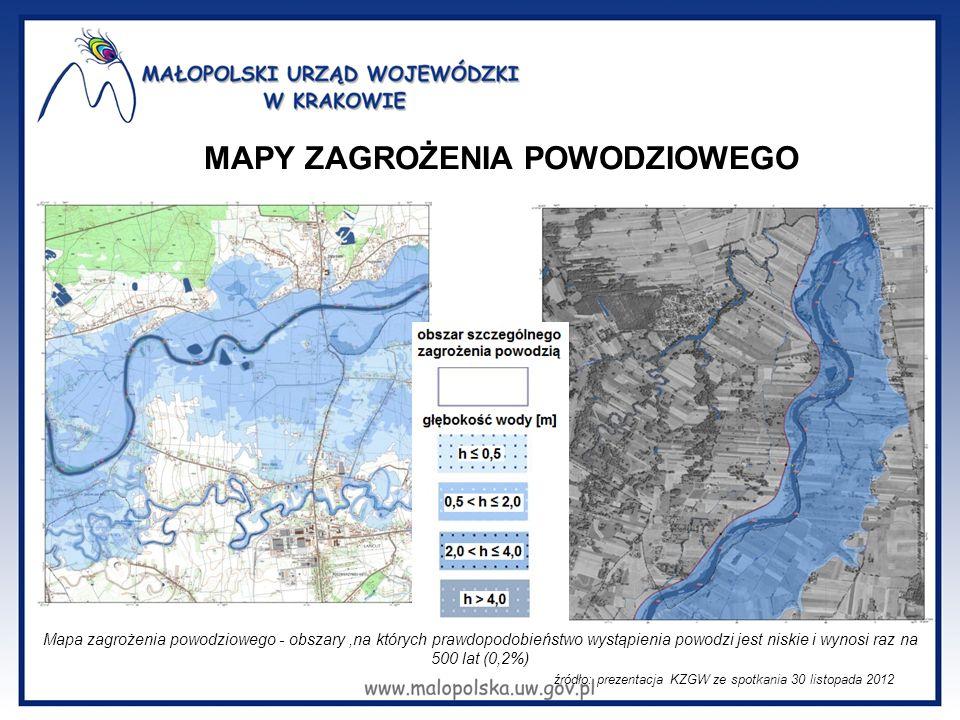 MAPY ZAGROŻENIA POWODZIOWEGO źródło: prezentacja KZGW ze spotkania 30 listopada 2012 Mapa zagrożenia powodziowego - obszary,na których prawdopodobieńs