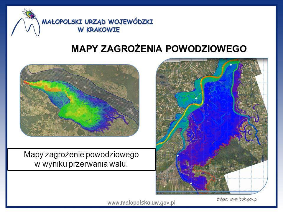 MAPY ZAGROŻENIA POWODZIOWEGO źródło: www.isok.gov.pl Mapy zagrożenie powodziowego w wyniku przerwania wału.