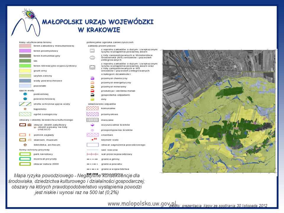 Mapa ryzyka powodziowego - Negatywne konsekwencje dla środowiska, dziedzictwa kulturowego i działalności gospodarczej; obszary na których prawdopodobi