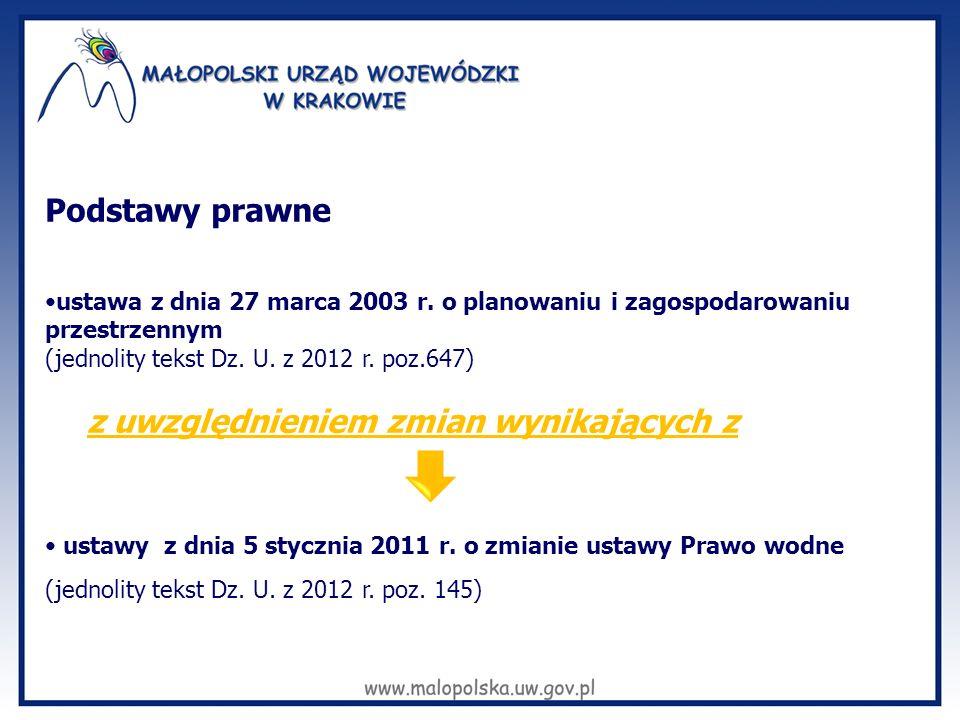 Podstawy prawne ustawa z dnia 27 marca 2003 r. o planowaniu i zagospodarowaniu przestrzennym (jednolity tekst Dz. U. z 2012 r. poz.647) z uwzględnieni