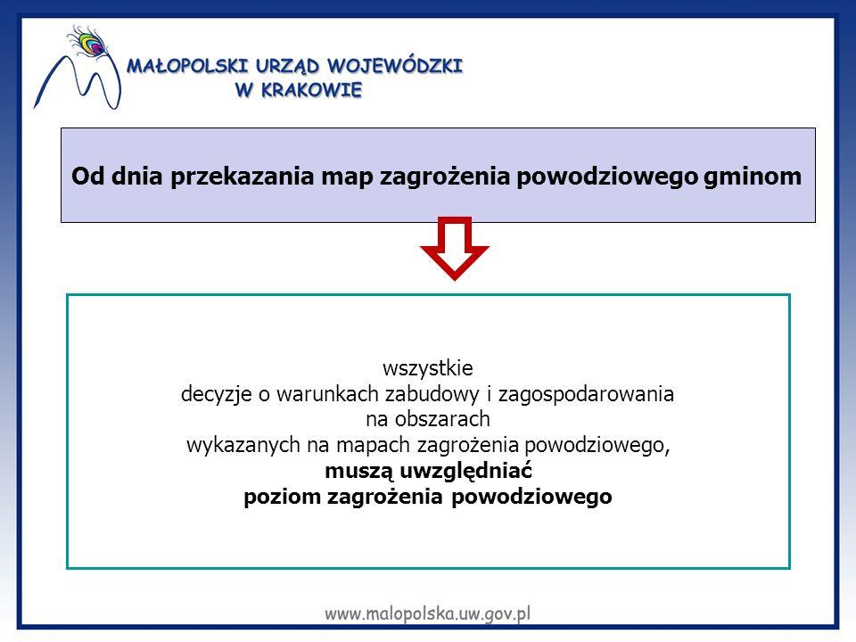 Od dnia przekazania map zagrożenia powodziowego gminom wszystkie decyzje o warunkach zabudowy i zagospodarowania na obszarach wykazanych na mapach zag