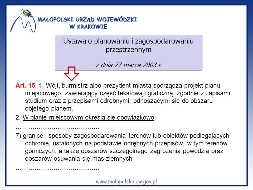 Art. 15. 1. Wójt, burmistrz albo prezydent miasta sporządza projekt planu miejscowego, zawierający część tekstową i graficzną, zgodnie z zapisami stud