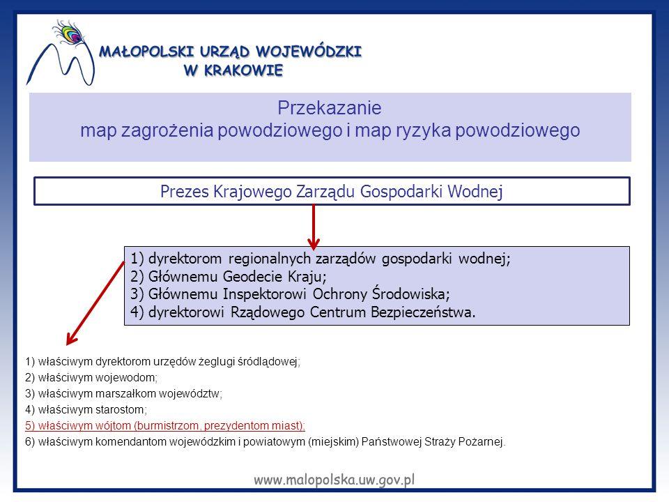 Przekazanie map zagrożenia powodziowego i map ryzyka powodziowego 1) właściwym dyrektorom urzędów żeglugi śródlądowej; 2) właściwym wojewodom; 3) właś