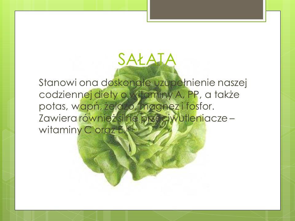 SAŁATA Stanowi ona doskonałe uzupełnienie naszej codziennej diety o witaminy A, PP, a także potas, wapń, żelazo, magnez i fosfor. Zawiera również siln