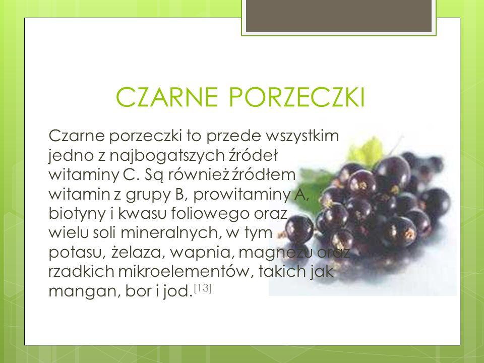 CZARNE PORZECZKI Czarne porzeczki to przede wszystkim jedno z najbogatszych źródeł witaminy C. Są również źródłem witamin z grupy B, prowitaminy A, bi