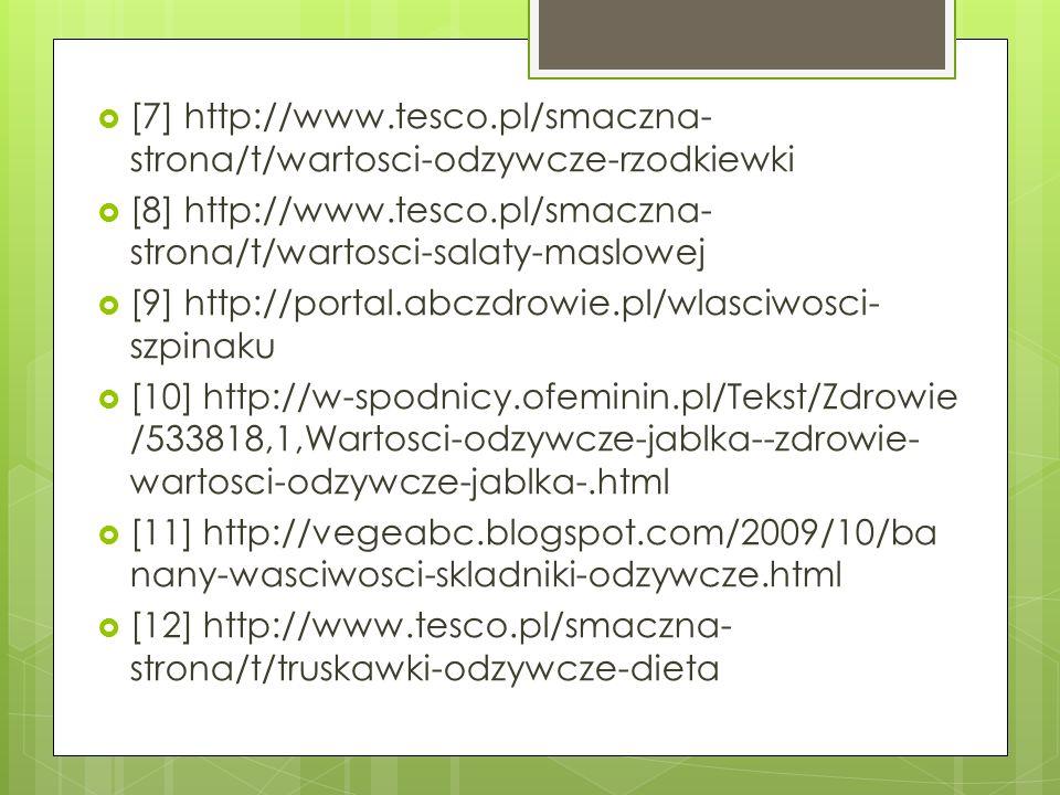 [7] http://www.tesco.pl/smaczna- strona/t/wartosci-odzywcze-rzodkiewki [8] http://www.tesco.pl/smaczna- strona/t/wartosci-salaty-maslowej [9] http://p