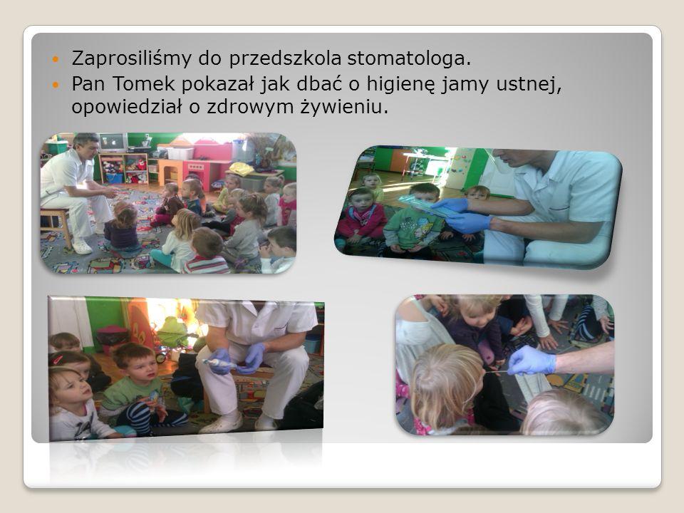 Zaprosiliśmy do przedszkola stomatologa. Pan Tomek pokazał jak dbać o higienę jamy ustnej, opowiedział o zdrowym żywieniu.
