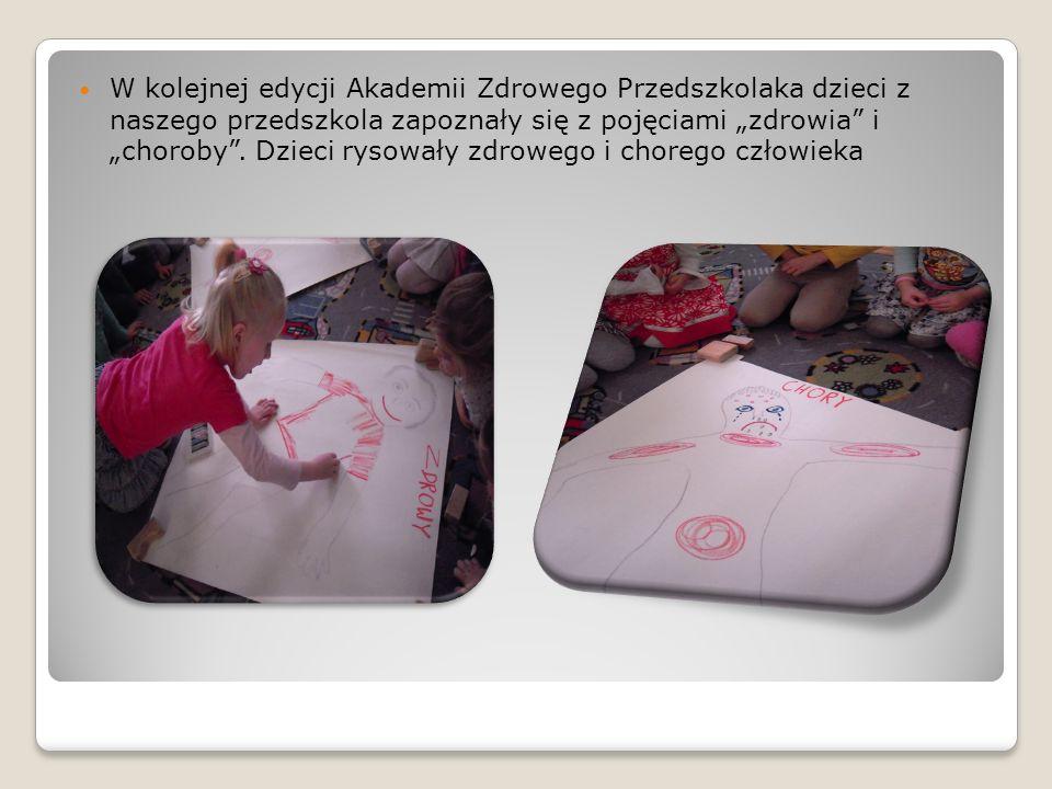 W kolejnej edycji Akademii Zdrowego Przedszkolaka dzieci z naszego przedszkola zapoznały się z pojęciami zdrowia i choroby. Dzieci rysowały zdrowego i