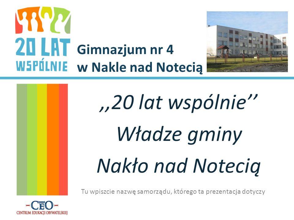 Gimnazjum nr 4 w Nakle nad Notecią,,20 lat wspólnie Władze gminy Nakło nad Notecią Tu wpiszcie nazwę samorządu, którego ta prezentacja dotyczy