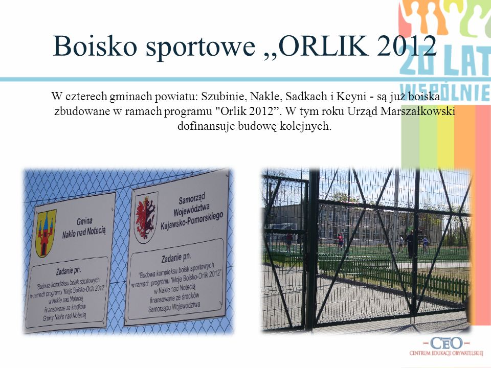 Boisko sportowe,,ORLIK 2012 W czterech gminach powiatu: Szubinie, Nakle, Sadkach i Kcyni - są już boiska zbudowane w ramach programu