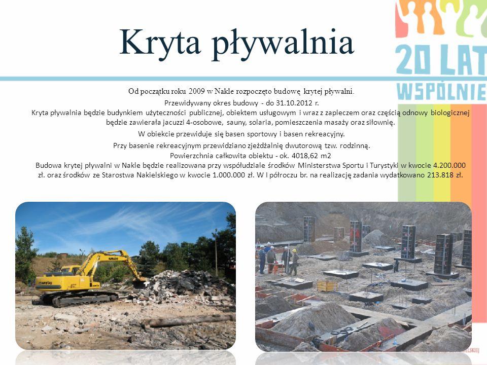Kryta pływalnia Od początku roku 2009 w Nakle rozpoczęto budowę krytej pływalni. Przewidywany okres budowy - do 31.10.2012 r. Kryta pływalnia będzie b