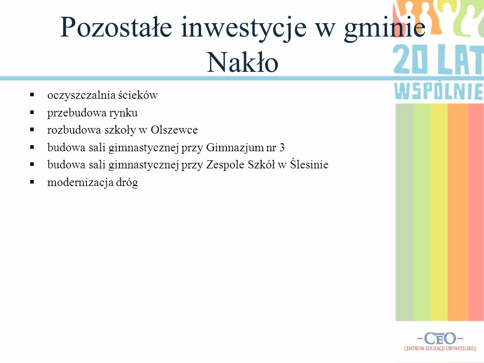 Pozostałe inwestycje w gminie Nakło oczyszczalnia ścieków przebudowa rynku rozbudowa szkoły w Olszewce budowa sali gimnastycznej przy Gimnazjum nr 3 b