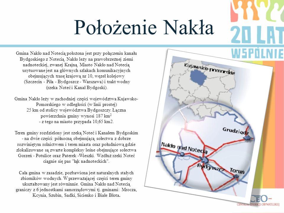 Położenie Nakła Gmina Nakło nad Notecią położona jest przy połączeniu kanału Bydgoskiego z Notecią. Nakło leży na prawobrzeżnej ziemi nadnoteckiej, zw