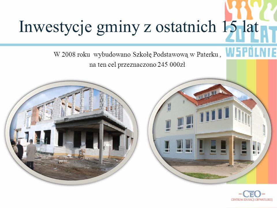 Inwestycje gminy z ostatnich 15 lat W 2008 roku wybudowano Szkołę Podstawową w Paterku, na ten cel przeznaczono 245 000zł