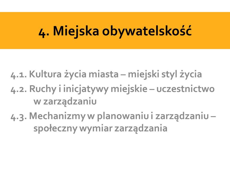 4. Miejska obywatelskość 4.1. Kultura życia miasta – miejski styl życia 4.2.