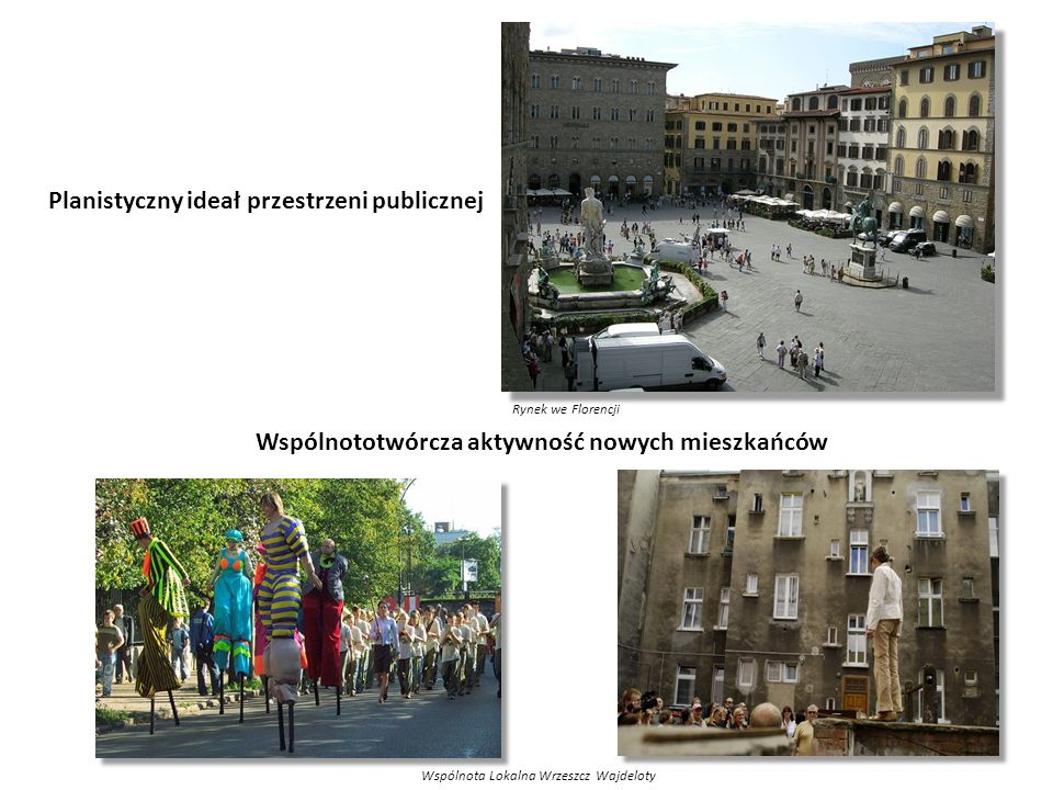 Wspólnota Lokalna Wrzeszcz Wajdeloty Wspólnototwórcza aktywność nowych mieszkańców Planistyczny ideał przestrzeni publicznej Rynek we Florencji