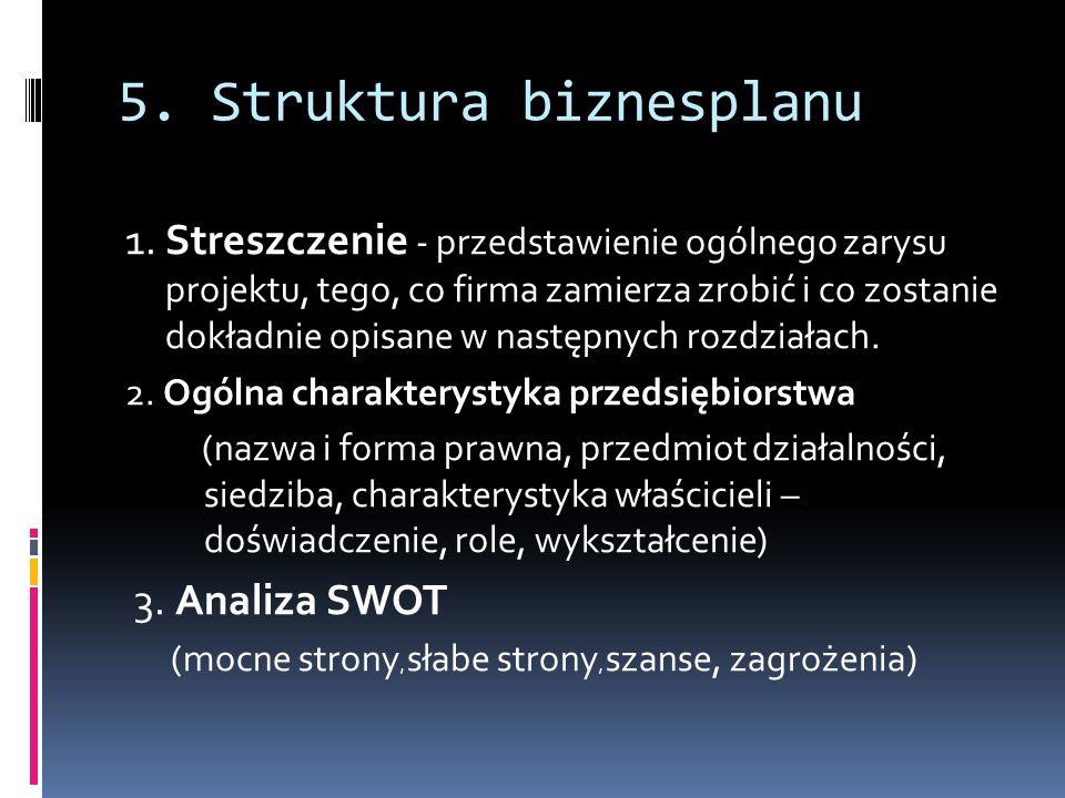 5. Struktura biznesplanu 1. Streszczenie - przedstawienie ogólnego zarysu projektu, tego, co firma zamierza zrobić i co zostanie dokładnie opisane w n