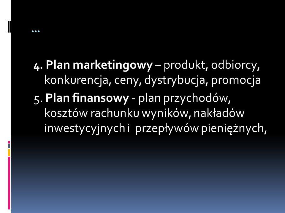 … 4. Plan marketingowy – produkt, odbiorcy, konkurencja, ceny, dystrybucja, promocja 5. Plan finansowy - plan przychodów, kosztów rachunku wyników, na